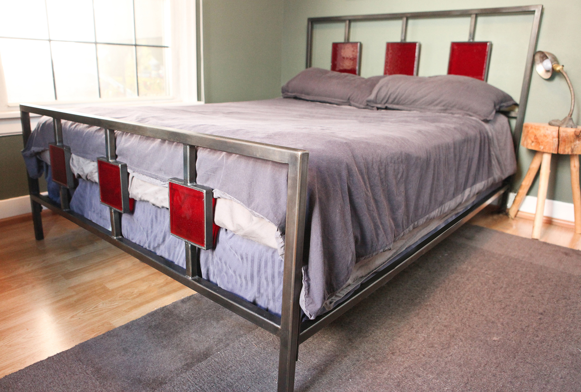 saint furniture handmade glass headboard bed