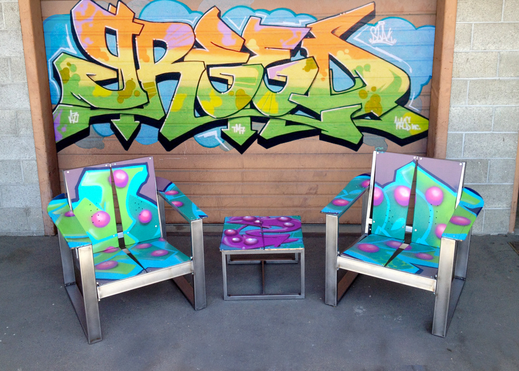 upcycled snowboard chairs recycled portland pdx