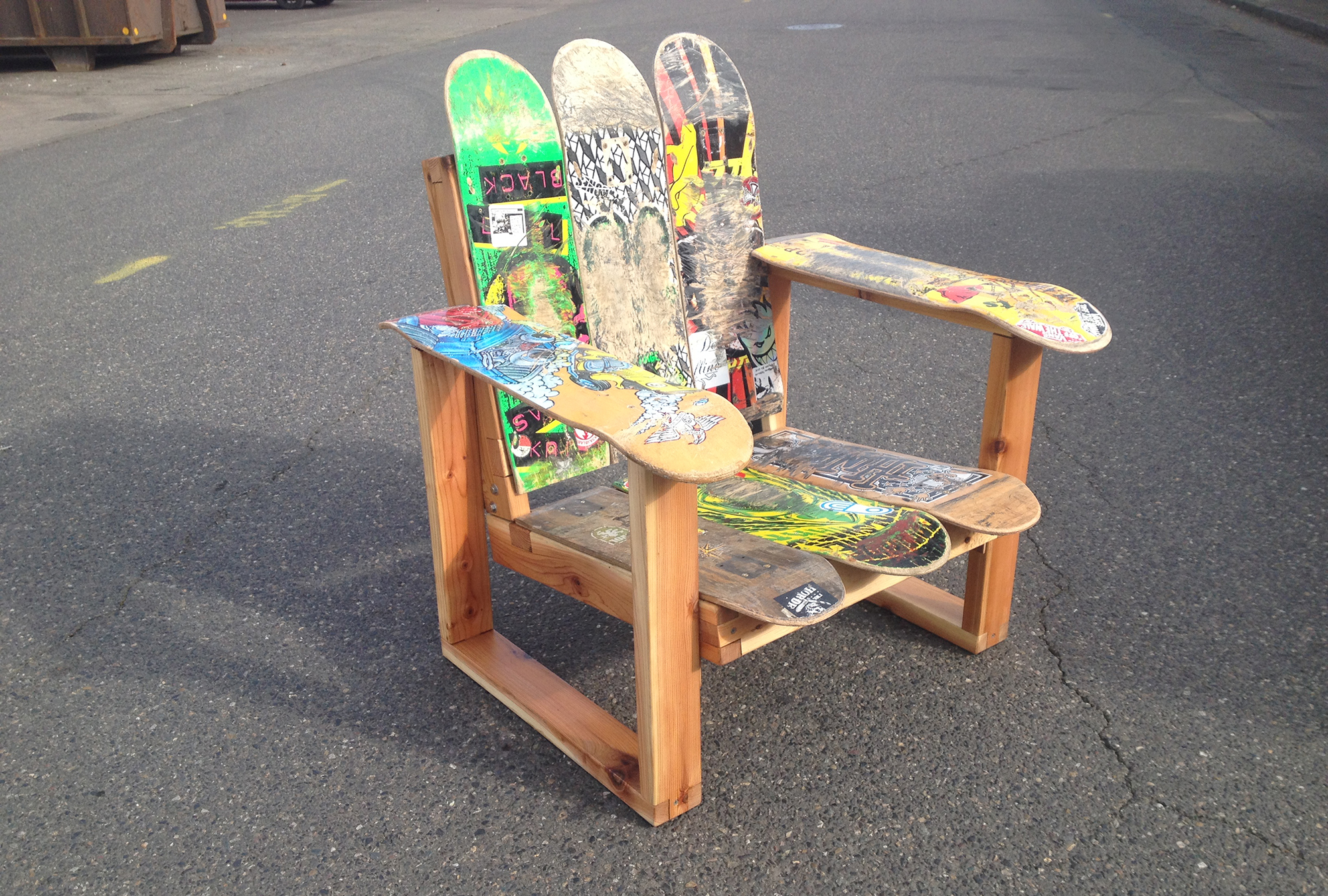 upcycled recycled skateboard chair furniture