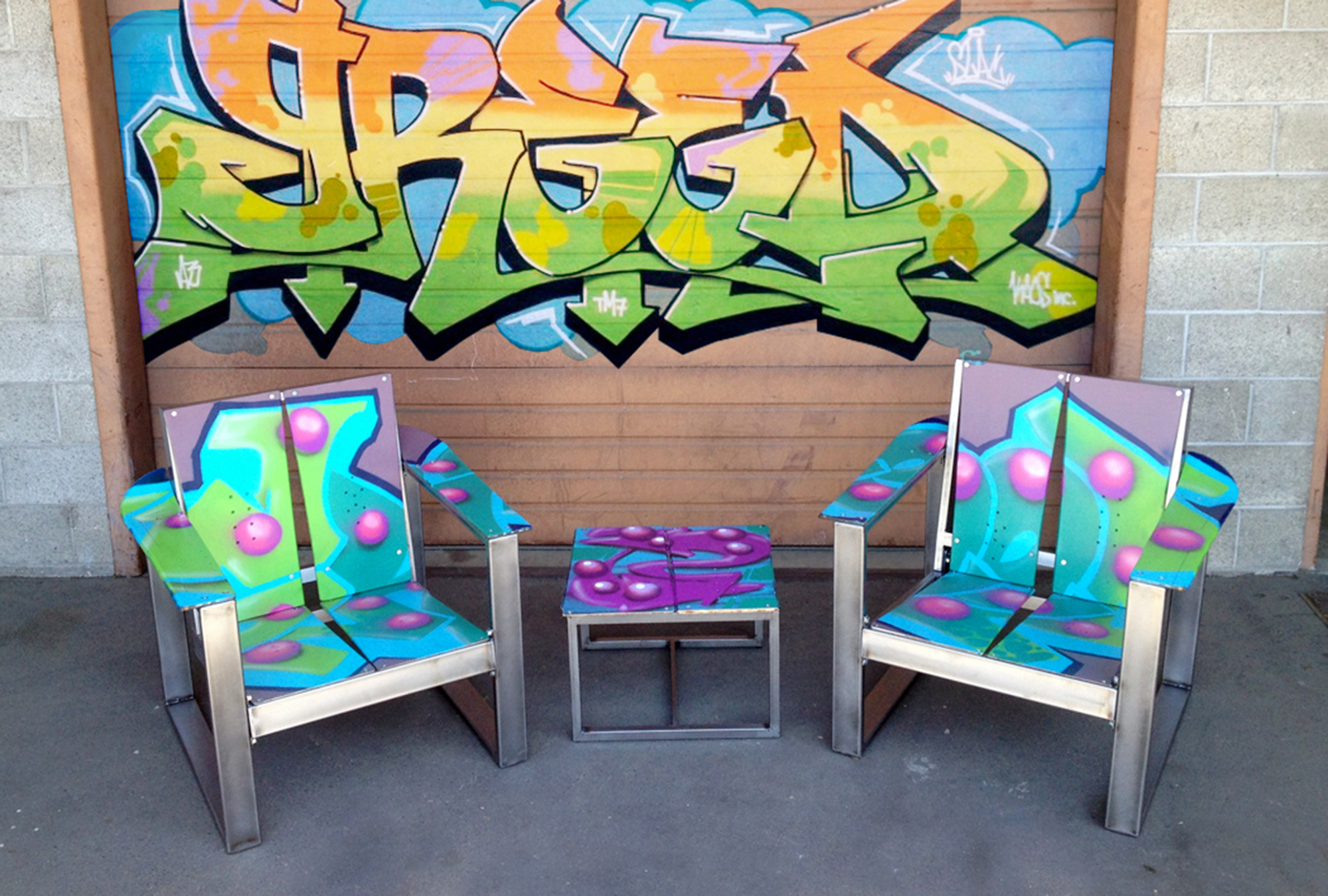 greed graffiti upcycled snowboard chairs