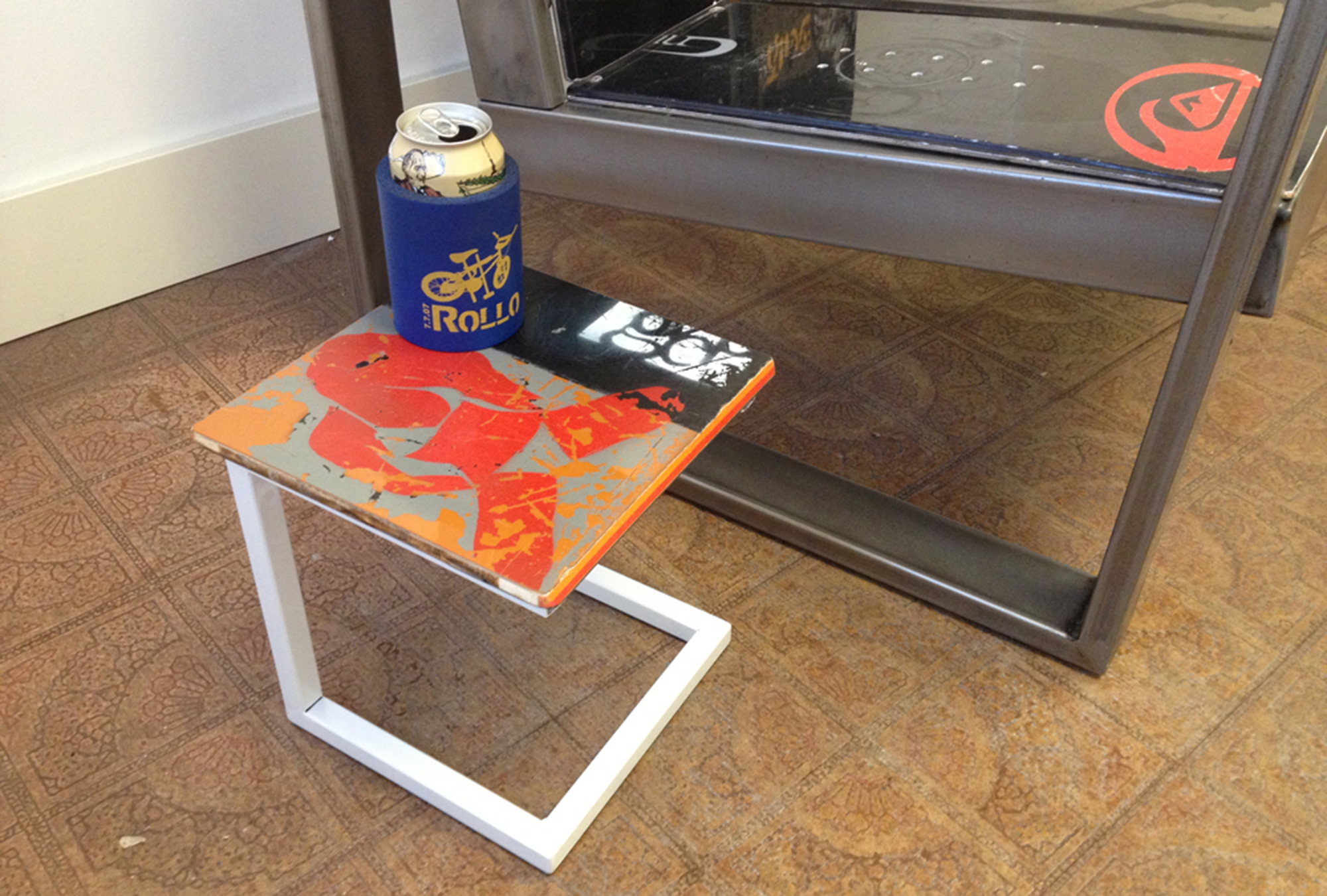 upcycled recycled snowboard burton table furniture